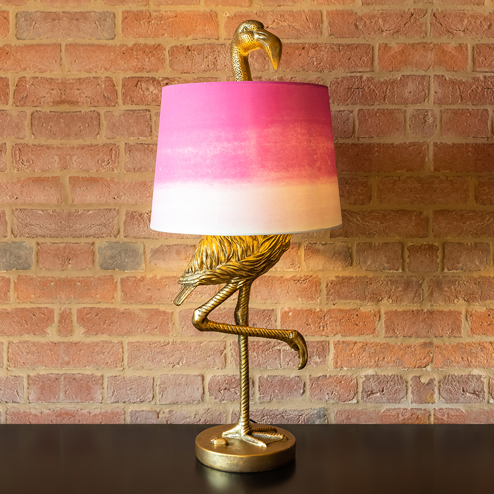 Gold Flamingo Lamp with Pink Ombré Shade