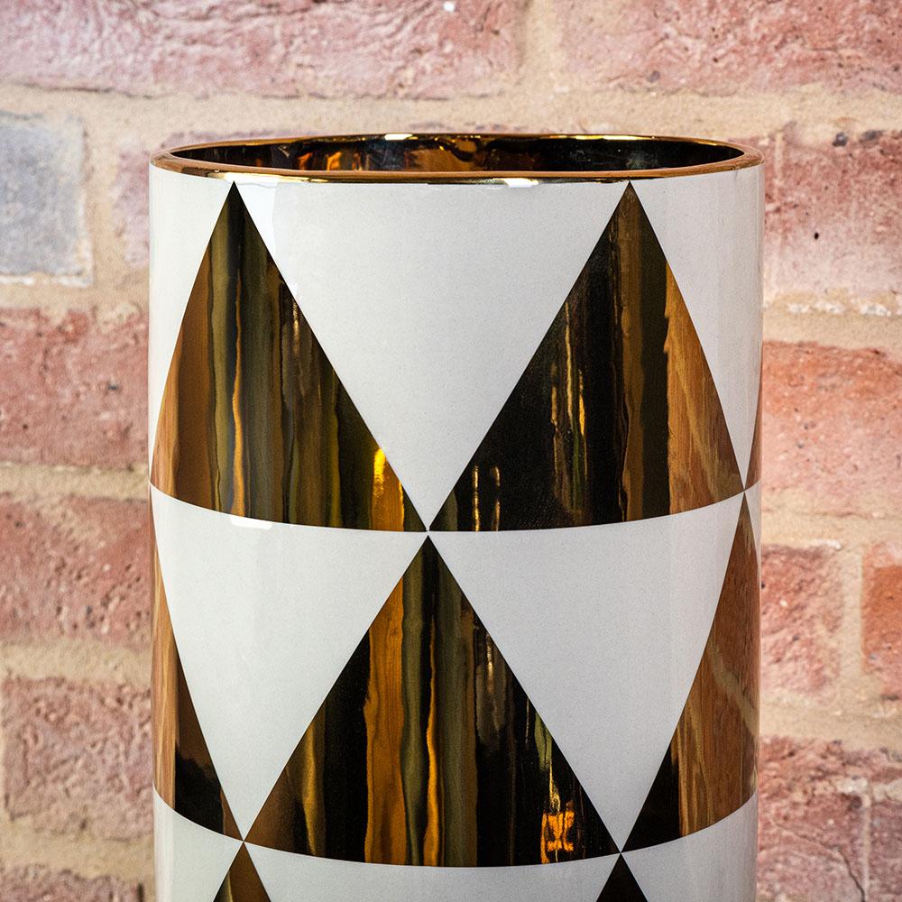 White Gold Art Deco Style Vase Large Vase Margo Plum